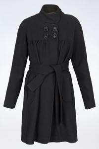 Μαύρο Μάλλινο Παλτό με Αποσπώμενη Ζώνη / Εφασμογή: S