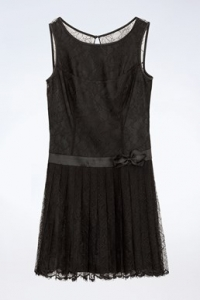 Μαύρο Μεταξωτό Φόρεμα με Δαντέλα