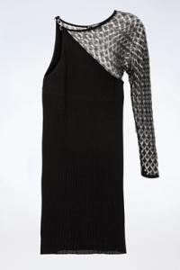Μαύρο Πλεκτό Φόρεμα με Ένα Ώμο / Μέγεθος: 46 IT - Εφαρμογή: XS / S