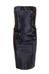 Μαύρο Σατέν Στράπλες Φόρεμα