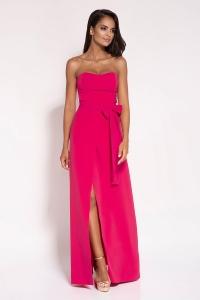 Μάξι φόρεμα στράπλες - Φούξια