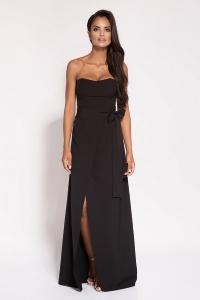 Μάξι φόρεμα στράπλες - Μαύρο