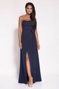 Μάξι φόρεμα στράπλες - Μπλε