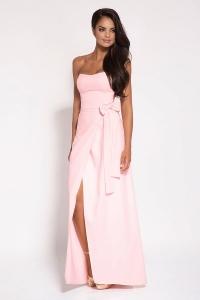 Μάξι φόρεμα στράπλες - Ροζ
