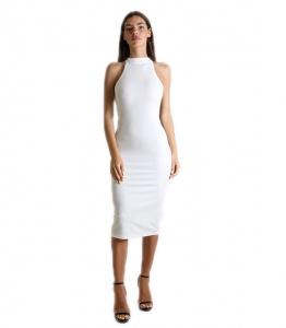 Midi αμάνικο εφαρμοστό φόρεμα (Λευκό)
