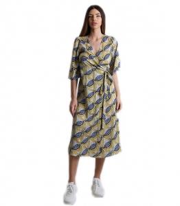 Midi φόρεμα δετό με 3/4 μανίκι