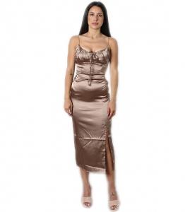 Midi φόρεμα σατέν metallic