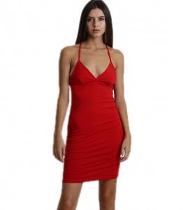 Μίνι φόρεμα εφαρμοστό με χιαστή στην πλάτη (Κόκκινο)