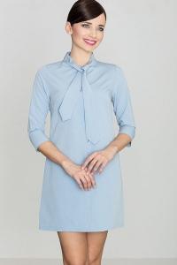 Μίνι φόρεμα με κουμπιά και δέσιμο στον λαιμό - Μπλε Ανοιχτό
