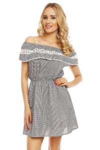 Μίνι φόρεμα με ρίγες - Μαύρο