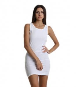Μίνι φόρεμα ριπ αμάνικο (Λευκό)