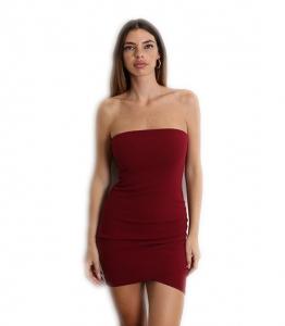 Μίνι φόρεμα στράπλες με κρυφό φερμουάρ (Μπορντό)