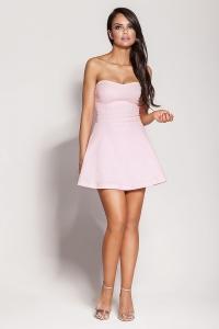 Μίνι φόρεμα στράπλες - Ροζ