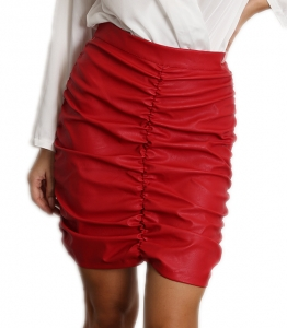 Μίνι φούστα δερματίνη σουρωτή (Κόκκινο)
