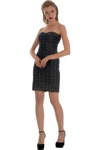 Μίνι στράπλες ζακάρ φόρεμα