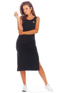 Μίντι φόρεμα αμάνικο - Μαύρο