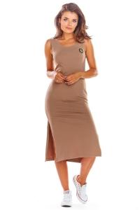 Μίντι φόρεμα αμάνικο - Μόκα