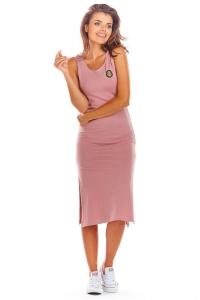 Μίντι φόρεμα αμάνικο - Ροζ