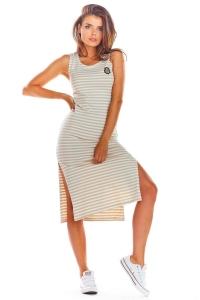 Μίντι φόρεμα ριγέ - Μπεζ