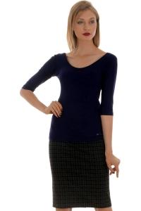 Μονόχρωμη μπλούζα βισκόζ Bellino-