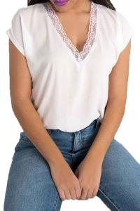 Μπλούζα Με V Δαντέλα Λευκή