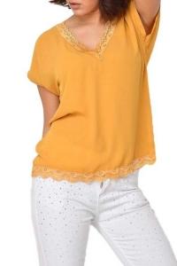 Μπλούζα Με V Δαντέλα Μουσταρδί