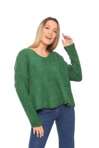 Μπλούζα Πλεκτή Με V Σε Πράσινο