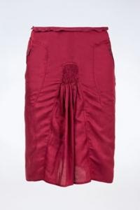 Μπορντό Ελαφριά Βαμβακερή Φούστα με Τσέπες / Μέγεθος: 42 FR - Εφαρμογή: M