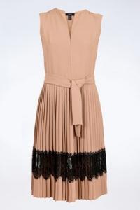 Nude Φόρεμα με Μαύρη Δαντέλα