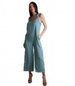 Ολόσωμη φόρμα με δέσιμο στους ώμους oversized (Βεραμάν)