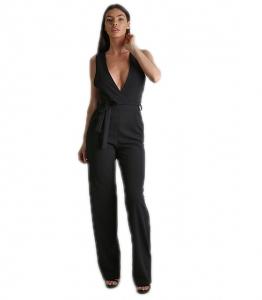 Ολόσωμη φόρμα με βαθύ ντεκολτέ και ζώνη (Μαύρη)