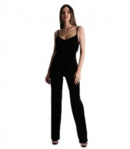 Ολόσωμη φόρμα τιράντα βελούδο Μαύρη