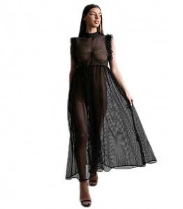 Ολόσωμο σορτς με επένδυση και μαύρο φόρεμα δαντέλα (Μπεζ)