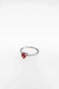 One Heart Ασημένιο Δαχτυλίδι με Ροζ Καρδιά