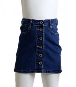Παιδική τζιν φούστα με κουμπιά στην μέση (Σκούρο μπλε)