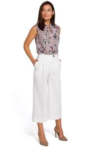 Παντελόνα ζιπ κιλότ - Λευκό