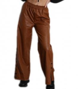 Παντελόνι δερματίνη ψηλόμεσο με κουμπιά στο κάτω μέρος (Κάμελ)