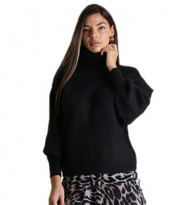 Πλεκτή μπλούζα ζιβάγκο με λάστιχο στα μανίκια (Μαύρο)