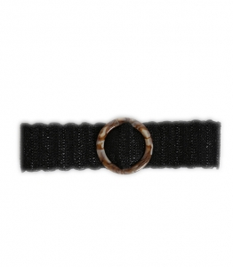 Πλεκτή ζώνη με στρόγγυλη τόκα (Μαύρο)