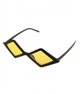 Πολυγωνικά γυαλιά ηλίου με κίτρινο φακό (Μαύρο)