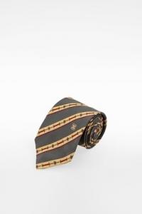 Πολύχρωμη Μεταξωτή Γραβάτα με Ριγέ Σχέδιο