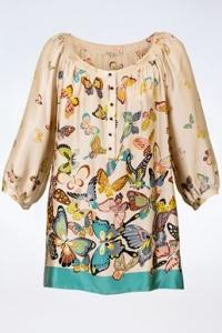 Πολύχρωμη Μεταξωτή Μπλούζα με Πεταλούδες / Μέγεθος: 42 FR - Εφαρμογή: M