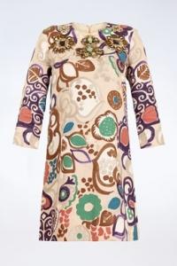 Πολύχρωμο Λινό Εμπριμέ Φόρεμα