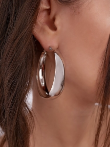 POLY SILVER MEDIUM HOOP EARRINGS