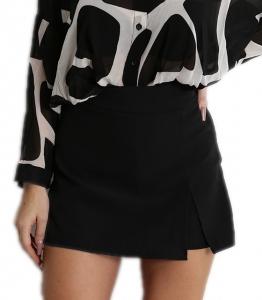 Ψηλόμεση φούστα σορτς με κρυφό φερμουάρ στο πλάι (Μαύρο)