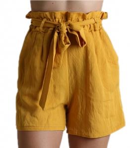 Ψηλόμεσο σορτς φαρδύ με λάστιχο και ζώνη (Κίτρινο)