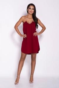 Ριχτό μίνι φόρεμα με ραντάκι αλυσίδα - Μπορντό