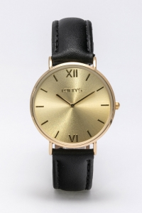 Ρολόι Loftys Vintage με μαύρο λουράκι και χρυσό καντράν Y3406-3