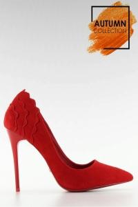 Σουέντ ψηλοτάκουνες γόβες - Κόκκινο