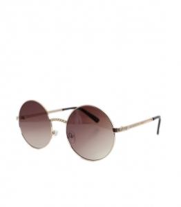 Στρόγγυλα γυαλιά ηλίου με ιδιαίτερο χρυσό σκελετό (Καφέ)